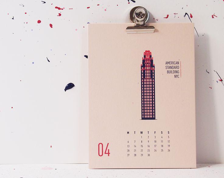 Buildings Of New York City - American Standard Building, mmmMAR Illustrated and hand screened by Marieken Hensen, Calendar 2015