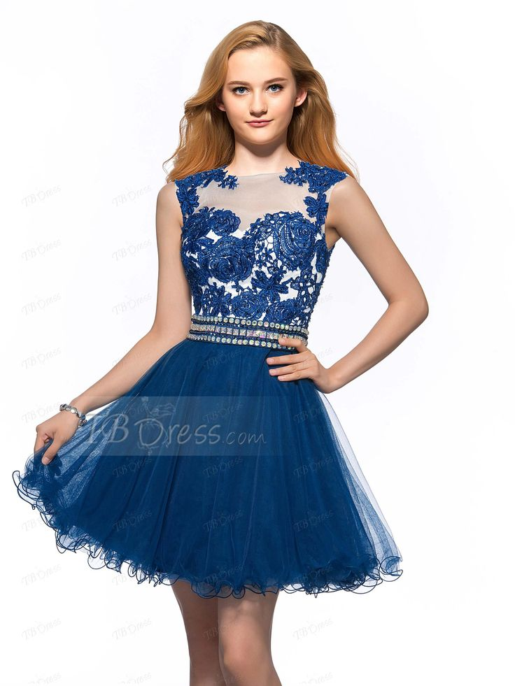 Tbdress.com offers high quality Elegant A-line Bateau Neck Lace Appliques Short Homecoming Dress Inexpensive Homecoming Dresses unit price of $ 108.59.