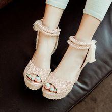 Nuove donne coreane sandali con zeppa Lucido panno di pizzo dopo zip signore di modo di estate viola tacco alto pompa scarpe partito più size34-43(China (Mainland))