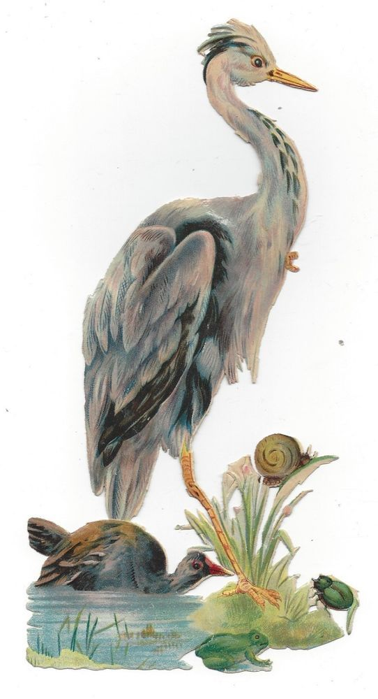 Victorian Die Cut Scrap Stork with the Snail, Beetle, and Frog