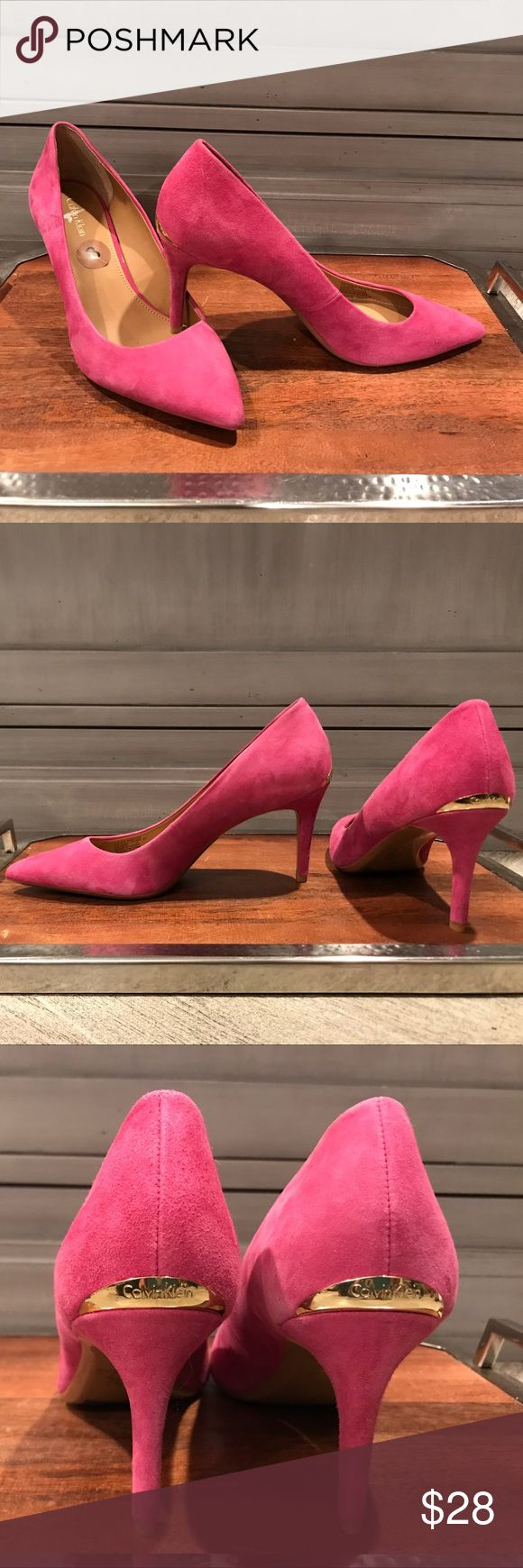 """Calvin Klein suede heels Never worn. """"Gayle"""" style. Pretty pink suede with gold Calvin Klein logo on heel. 3.5"""" heel. What seems like a flaw in the material of the shoe, but came like this from the factory. Super cute for the office. Calvin Klein Shoes Heels"""