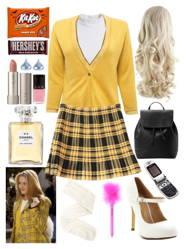 """""""Cher from clueless costume"""" by chloe12801 ❤ liked on Polyvore featuring Chanel, Bardot, EAST, Chase & Chloe, Charlotte Russe, Ilia, LVX, Hershey's, MANGO and Motorola"""
