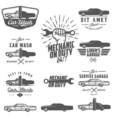 Set of retro car service labels emblems and logos vector by ivanbaranov on VectorStock®
