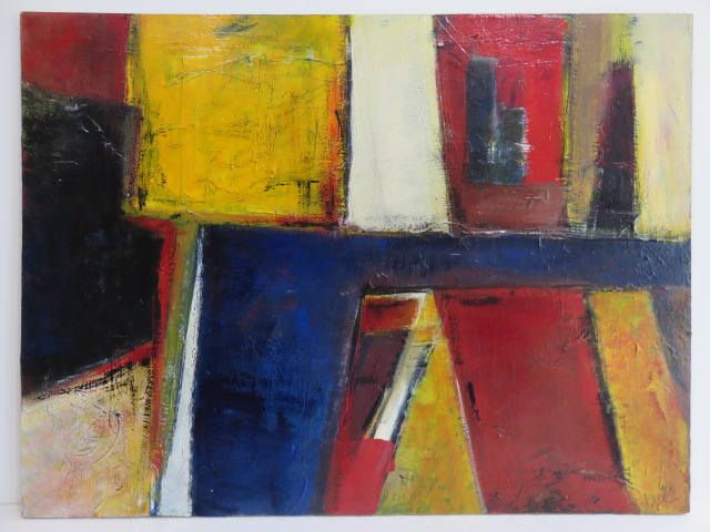 Signed Linear Mid-Century Modern Cubist Abstract, Original Oil Painting, Believed To Be By Al Smith Circa 1950's/60's. by FLORIDAMODERN on Etsy