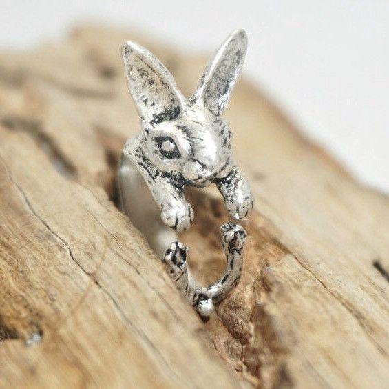 Versilberte Ringe - Hasen Ring, Bunny, Häschen Ring - ein Designerstück von Kompassart bei DaWanda