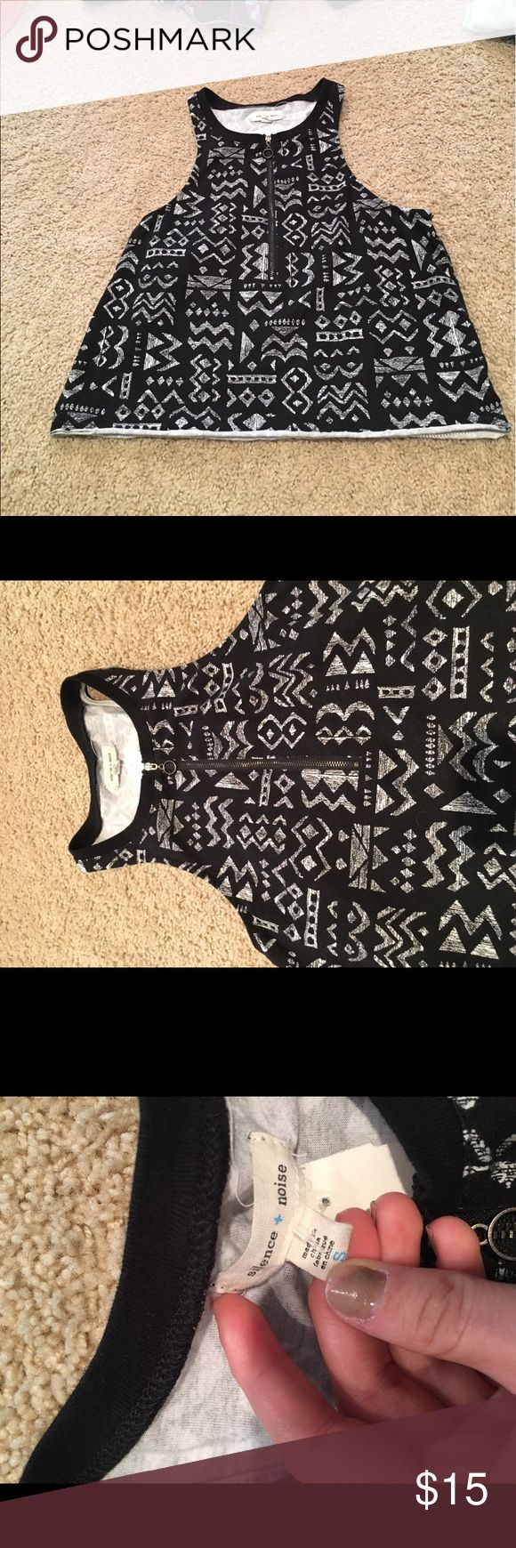 Black and white tribal high neck crop top zip up Black and white tribal high neck crop top racer back never worn zip up Urban Outfitters Tops Crop Tops