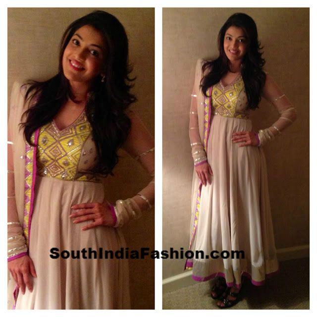 Kajal Agarwal in Long Anarkali~Latest Blouse Designs 2014~South India Fashion