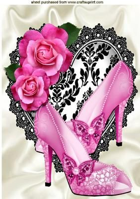 Pretty pink sparkle shoes on black lace heart A4 on Craftsuprint designed by Nick Bowley - Pretty pink sparkle shoes on black lace heart A4, makes a pretty card, lots of other ladies designs to see, Also can be seen in A5 - Now available for download!