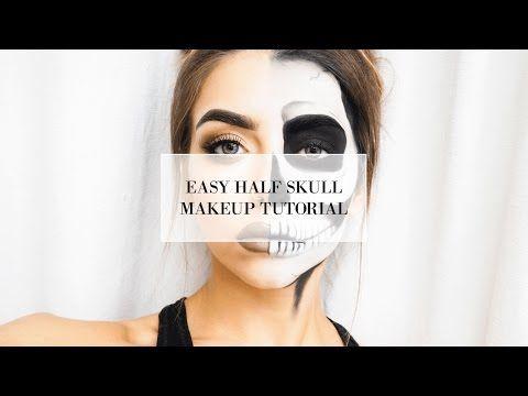 EASY HALF SKULL HALLOWEEN MAKEUP TUTORIAL I COCOCHIC - YouTube