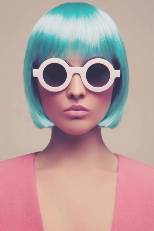 Retro futurism.Fashion, Hair Colors, Bobs, Bluehair, Blue Hair, Cotton Candies, Pastel Hair, Sunglasses, Colors Hair