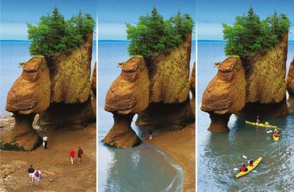 Hopewell Rocks in the Bay of Fundy, New Brunswick...where you can walk on the ocean floor at low tide and kayak above it at high tide--awesome!