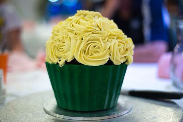 Giant cupcake with buttercream roses & candy melt casing