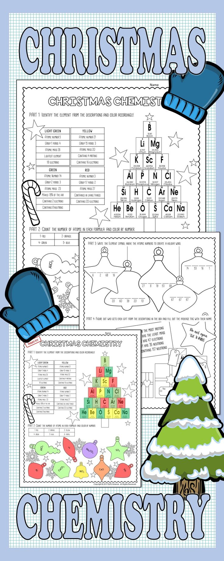 The 25 best periodic elements ideas on pinterest periodic table students will enjoy using their knowledge of the periodic table of elements and atoms with this fun and engaging christmas activity gamestrikefo Image collections