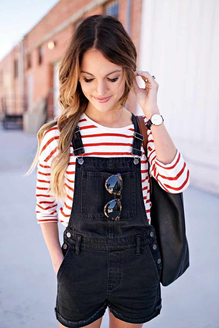 madewell overalls + tortoise sunglasses with red striped long sleeves top tshirt