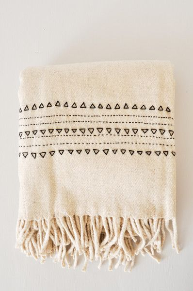 Black Druzi Wool Blanket - eco-friendly wedding gift idea - hand woven in Mexico…