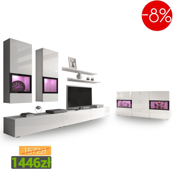 Meblościanka Baros  z komodą w modnym białym połysku! Łap okazję! Furniture for your living room in the white sheen. Check this out! #furniture #meblościanka #biały  #połysk #salon #living #room #mirjan24