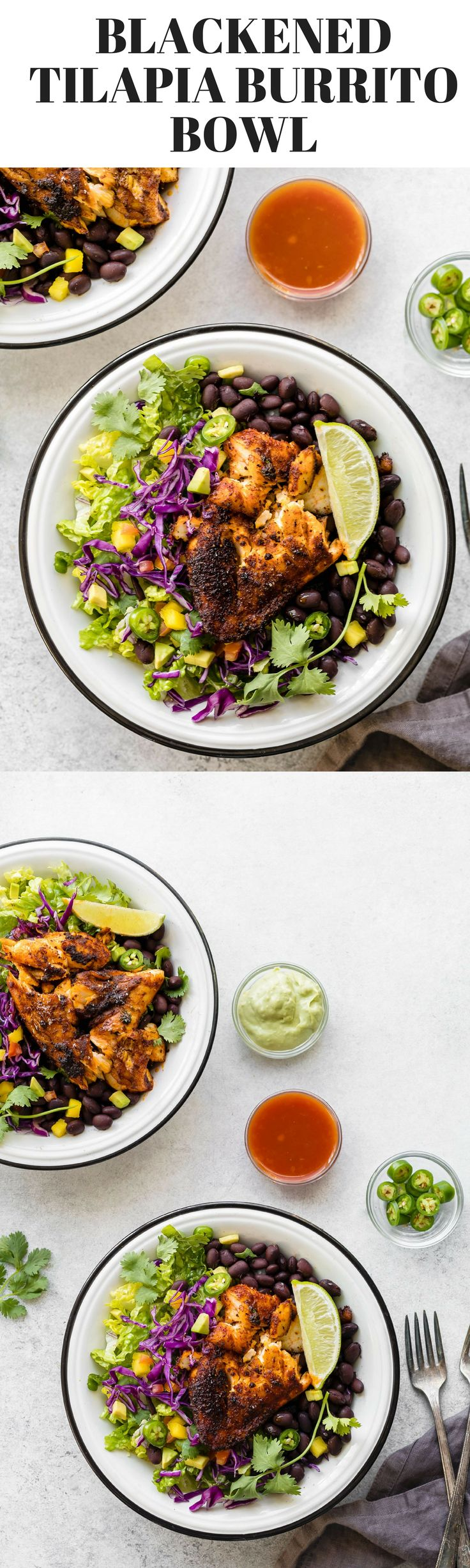 Blackened Tilapia Recipe for Fish Tacos or Burrito Bowl. Stove Top Blackened Tilapia recipe, Cajun style, perfect for fish tacos or burrito bowl. Tilapia fillets, marinated in homemade blackened fish seasoning, then cooked in a heavy cast-iron pan. #TINSTARFOODS #AD