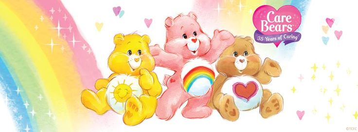 Care Bears: 35 Years of Caring timeline cover with Funshine, Cheer Bear and Tenderheart