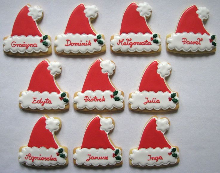 Santa's hat with names cookies