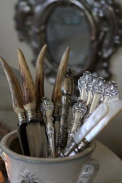 ❥ silver and pearl handles: Decoration House, Antiques Silver, Horns, Silver Cutleri, French Styles, Antlers, Mothers Of Pearls, French Country Farmhouse, Vintage Silverware