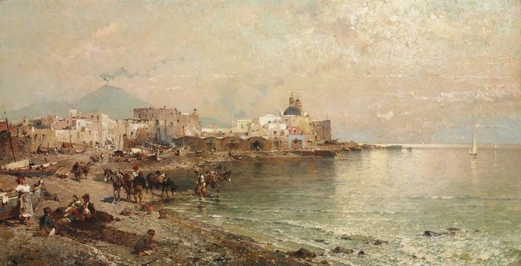 Torre del Greco, Bay of Naples by FRANZ RICHARD UNTERBERGER (AUSTRIAN, 1838-1902)