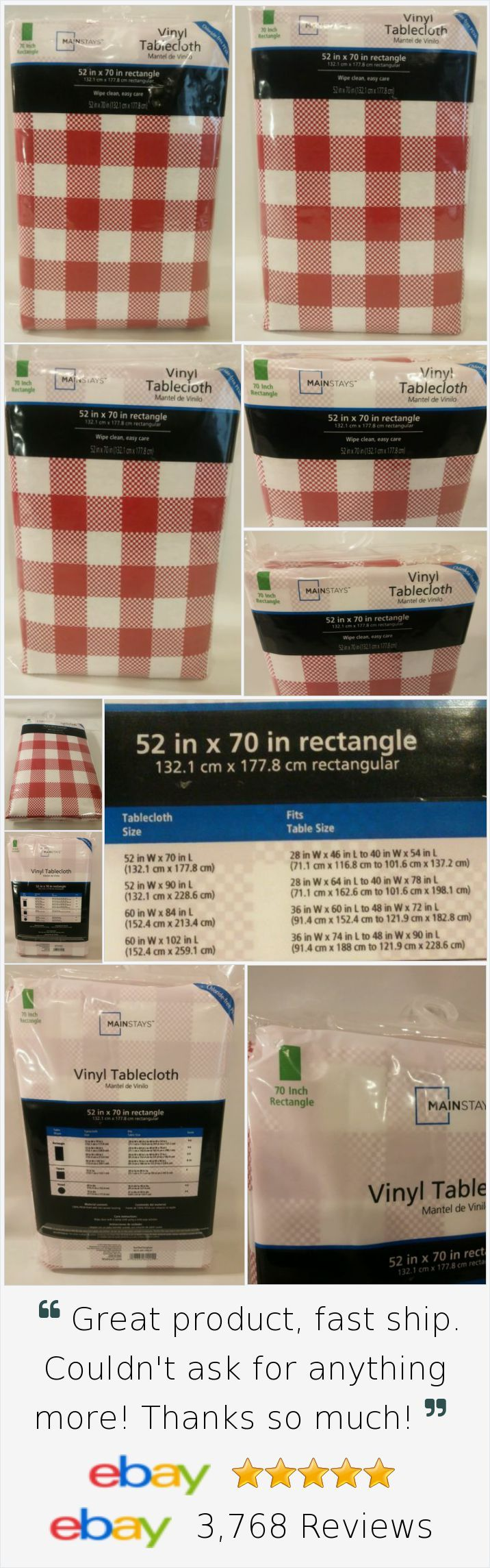 Tablecloth Red White Checkered 52 X 70 Rectangle Picnic BBQ Party Vinyl New