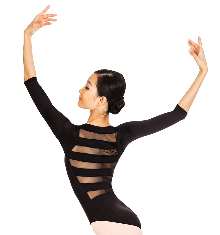 Adult 3/4 Sleeve Striped Back Leotard - Style #N8678 at Discount Dance Supply