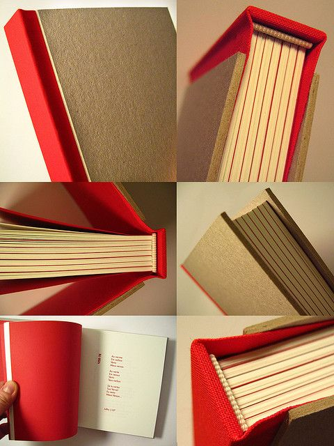 Book of Poetry by Zoopress Studio. Square spine in red cloth cover and cardboard visible. Modified case binding