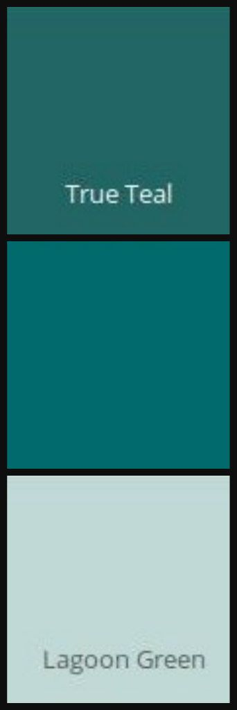 Energy True Teal ICI/Dulux Carribean Current BEHR Lagoon Green ICI/Dulux