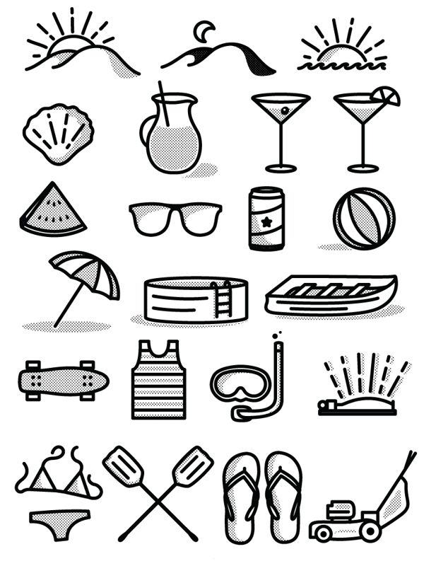 Free Summer Icon Set by Tim Praetzel, via Behance