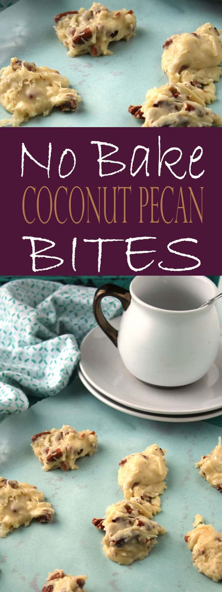 These No-Bake Pecan Coconut Clusters (Coconut Pecan Bites) are an INCREDIBLE no-bake dessert! You'll love this no-bake dessert recipe containing pecans, coconut flakes, white chocolate, and condensed milk. #nobake #dessert #coconut #pecan #nobakedessert