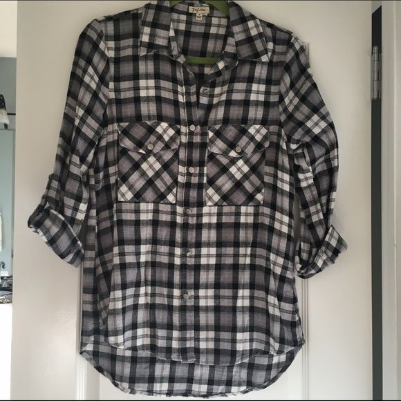 NWOT Black & white plaid blouse Flannel style. Can be worn with sleeves rolled up or down. NEW, never worn Tops Blouses