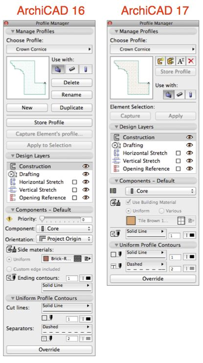 Profile Manager ArchiCAD 16 vs ArchiCAD 17
