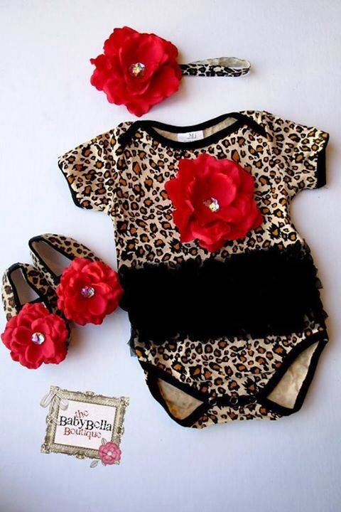CHEETAH PRINT LOVE BABY CLOTHES BABY GIRL RED
