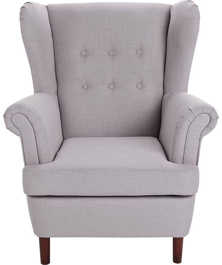 Home Martha Fabric Wingback Chair Light Grey Wingback