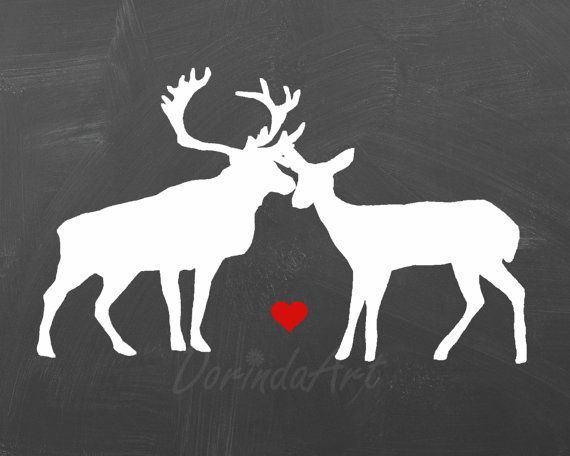 Deer Couple print Anniversary gift Valentine decor Stag doe Couple ...