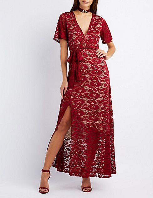 Lace Surplice Maxi Dress