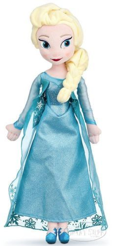 Disney Store FROZEN Elsa Stuffed Plush Doll Beautiful Blue Gown Snow Queen NEW