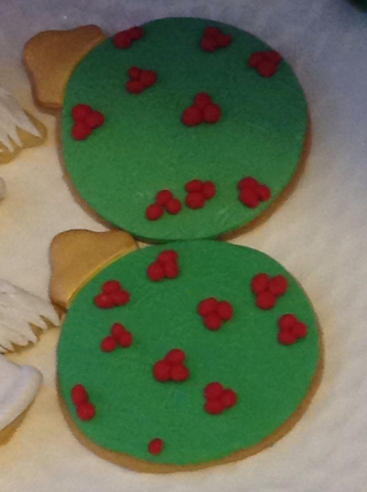 Holly sugar cookie baubles
