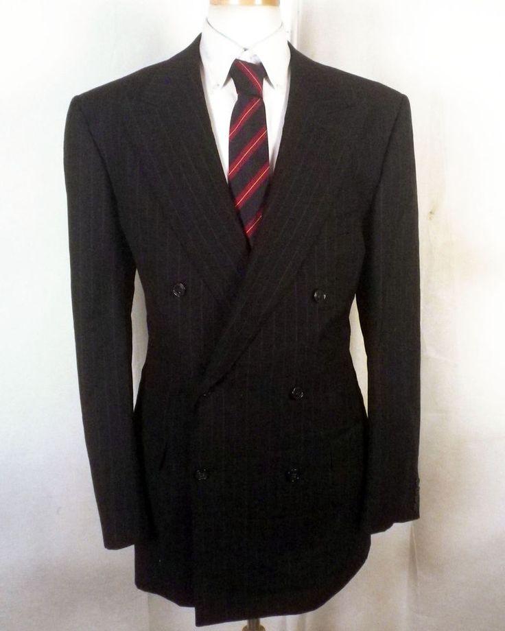 euc Ermenegildo Zegna Black Stripe Wool DB Blazer Sportcoat Canvassed italy 42 L #ErmenegildoZegna #DoubleBreasted