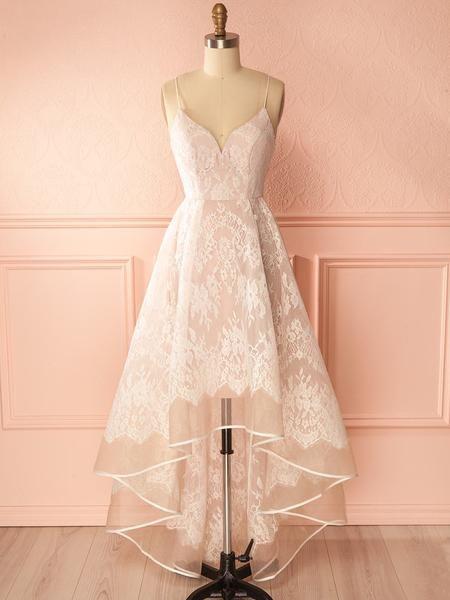 775c9fd383 Sexy High-Low Prom Dress Spaghetti Straps Lace Prom Dress Evening Dress  JKL109