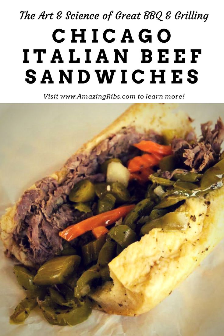 Chicago Italian Beef Sandwich Indoors or Outdoors. #Grill #Smoker #BBQ #barbecue #barbeque