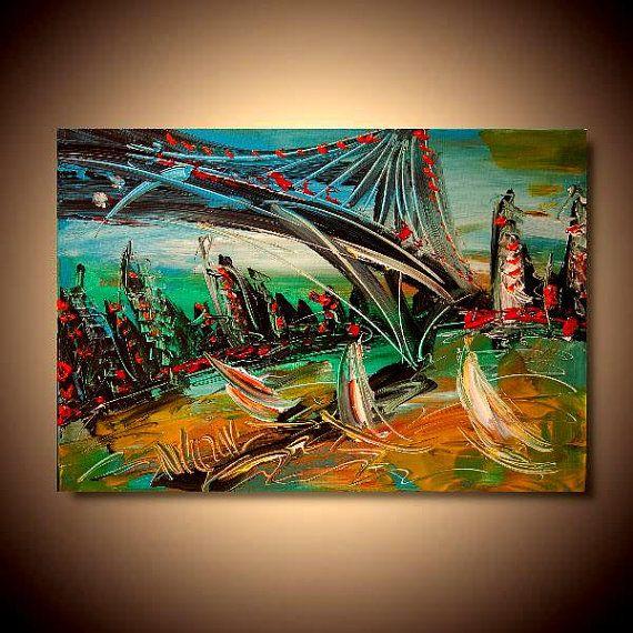 NEW YORK   LANDSCAPE   Painting Original Heavy Texture by kazavart