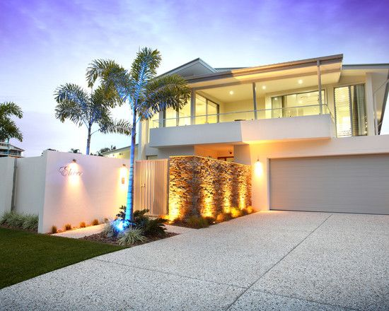 Exterior Design, Contemporary Exterior With Modern Driveway Designs Also Gray Minimalist Garage Door Design Also Stones Bricks Divider With ...