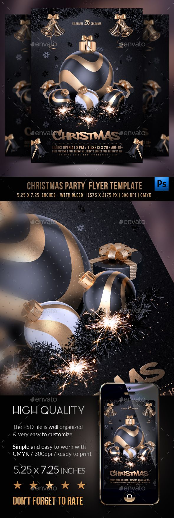 Christmas Party Flyer — Photoshop PSD #black #new year • Available here ➝ https://graphicriver.net/item/christmas-party-flyer/20956028?ref=pxcr