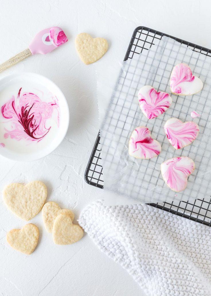 Marmor Herz Kekse Rezept zum Valentinstag mit Royal Icing Valentine´s Day backe...