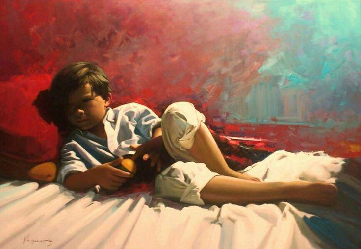 Descanso by Jose Higuera. figurative painting. 81x116 oil on canvas. http://www.josehiguera.com · http://www.facebook.com/joseyhiguera