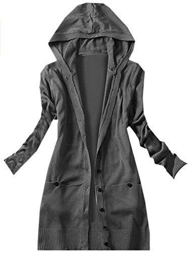 AZIZY Women's Black Casual Long Sleeve Basic Soild Knit Hooded Cardigan  Sweater