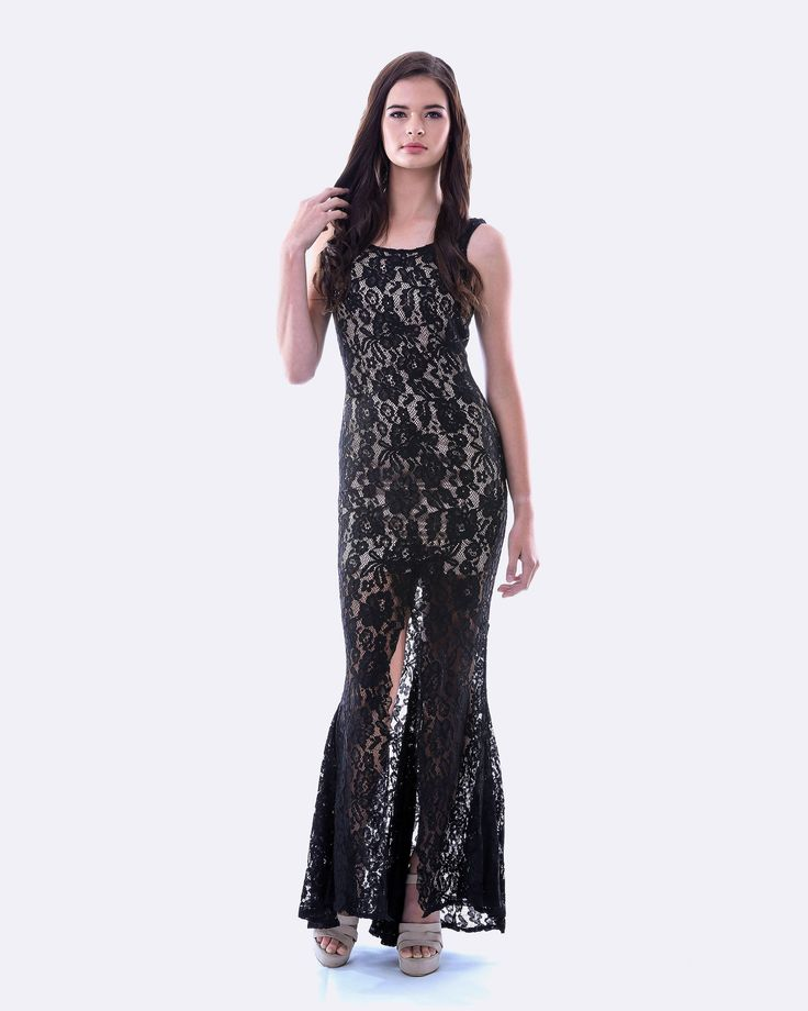 SKIVA Lace Evening Dress. This beautiful evening gown by features a high quality floral lace fabric and detailed trim. Accentuating the lace overlay is toned satin lining and side cut outs. Combined with a striking front fishtail split this dress will certainly turn heads. Perfect for school balls, proms, weddings and any formal occasions. Anyone will look amazing in this dress! Available in Lavender and Black / Bronze