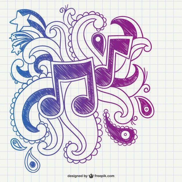 As notas musicais rabiscar